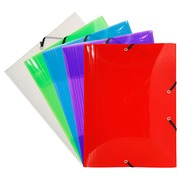 Translucent sleeve in plastic with 3 folds Exacompta 12 x 16 cm back 1,7 cm assorted colours