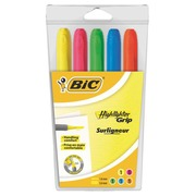 Sleeve of 5 Highlighter Bic Brightliner assorted colours
