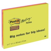 Blok 45 neon gekleurde Super Sticky Post-it notes 203 x 152 mm- blok van 45 vellen