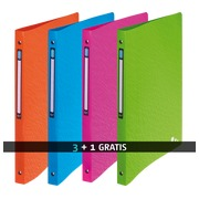 Pack 3 binders with 4 rings in plastic Elba Art Pop A4 assorted colors + 1 free