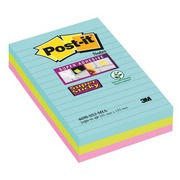 Gelijnde notes geassorteerde Miami kleuren Super Sticky Post-it 101 x 152 mm - blok van 90 notes