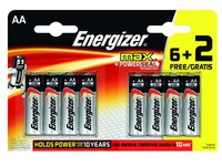 Blister of 6 batteries + 2 free LR6 Energizer Max