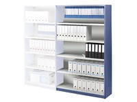 Versatile shelving extension element H 200 x W 126 x D 38 cm with back panel metal simple access