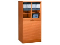 Double wooden tambour cabinet H 140 cm